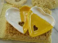 Seifenschale Herz gelb/ weiß