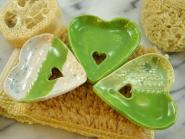 Seifenschale Herz grün/ grün-weiß