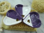 Seifenschale Herz lila/ weiß